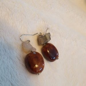 Carnelian earrings with fluorite & quartz accent